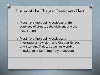 Duties of  the Chapter President-Elect