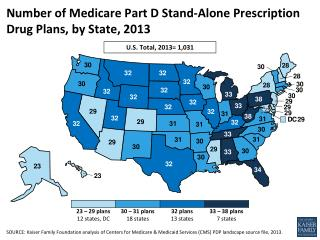 Number of Medicare Part D Stand-Alone Prescription Drug Plans, by State, 2013