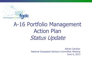 A-16 Portfolio Management Action Plan Status Update