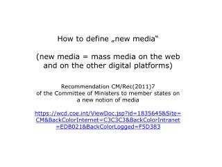 The purpose of media Media  and democracy Media  standards and regulation