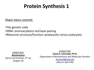 Protein Synthesis 1 Major topics covered: The genetic code