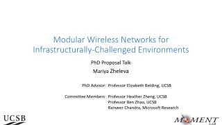 Modular Wireless Networks for  Infrastructurally -Challenged Environments
