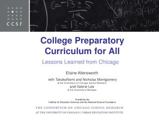 College Preparatory Curriculum for All