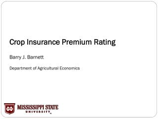 Crop Insurance Premium Rating