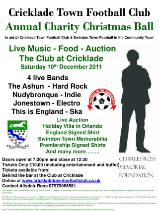 In aid of Cricklade Town Football Club & Swindon Town Football in the Community Trust