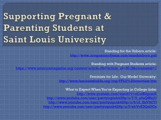Supporting Pregnant & Parenting Students at  Saint Louis University