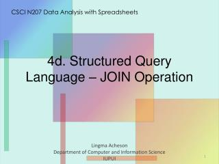 4d. Structured Query Language  –  JOIN  Operation