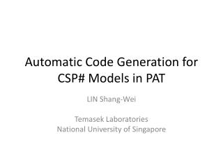 Automatic Code Generation for CSP# Models in PAT