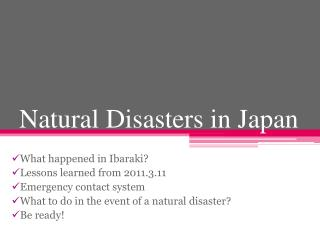 Natural Disasters in Japan