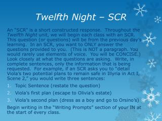 Twelfth Night – SCR