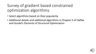 Survey of gradient based constrained optimization algorithms