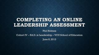 completing an online Leadership assessment