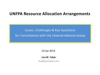 UNFPA Resource Allocation Arrangements