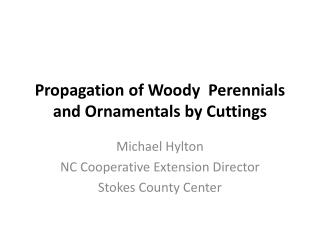 Propagation of Woody  Perennials and Ornamentals by Cuttings