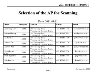 Selection of the AP for Scanning