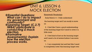Unit 6, Lesson 6 Mock election