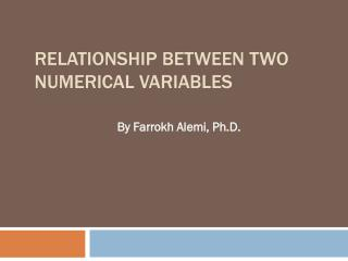 Relationship between Two Numerical Variables