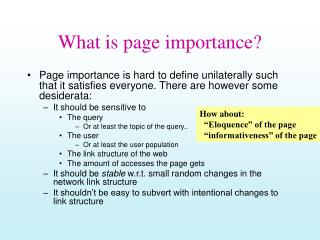 What is page importance