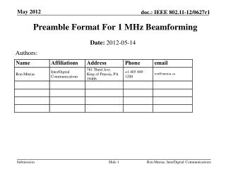 Preamble Format For 1 MHz  Beamforming