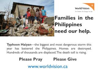 Families in the Philippines need our help.