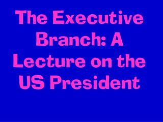 The Executive Branch: A Lecture on the US President