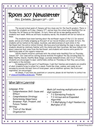 Room 307 Newsletter Mrs. Etrheim, January 13 th  – 17 th