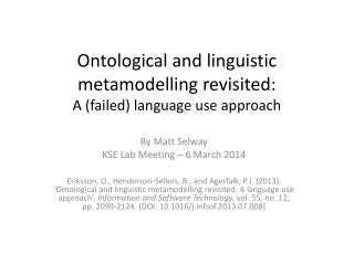 Ontological and linguistic  metamodelling  revisited:  A (failed) language use approach