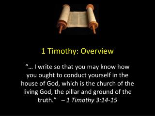 1 Timothy: Overview