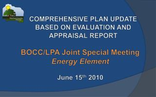 COMPREHENSIVE PLAN UPDATE  BASED ON EVALUATION AND APPRAISAL REPORT