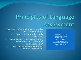 Principles of Language Assessment