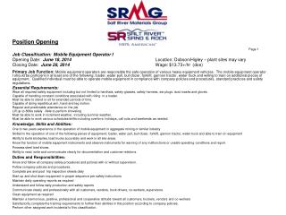 Position Opening Page 1 Job Classification:   Mobile  Equipment Operator I