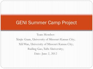 GENI Summer Camp Project