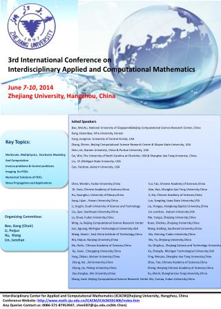 3rd International Conference on  Interdisciplinary Applied and Computational Mathematics