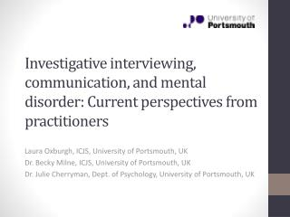 Laura Oxburgh, ICJS, University of Portsmouth, UK