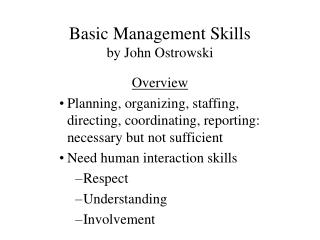 Basic Management Skills by John Ostrowski