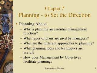 Chapter 7 Planning - to Set the Direction