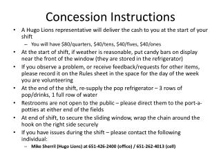 Concession Instructions
