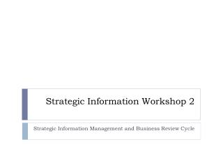 Strategic Information Workshop 2