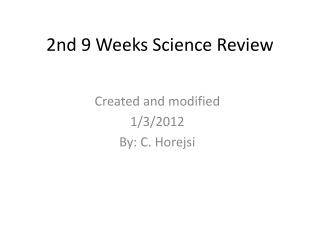 2nd 9 Weeks Science Review