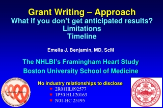 Grant Writing – Approach What if you don't get anticipated results? Limitations Timeline