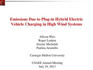 Emissions Due to  Plug-in  Hybrid Electric Vehicle  Charging in High Wind Systems