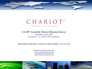 CA 80 th  Assembly District Election Survey September  29-30, 2008