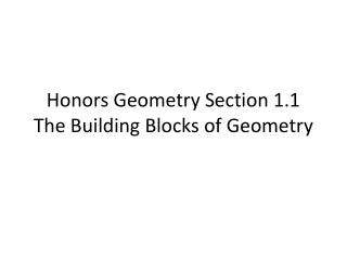 Honors Geometry Section 1.1 The Building Blocks of Geometry