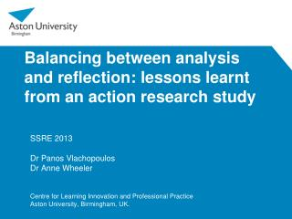 Balancing between analysis and reflection: lessons learnt from an action research study