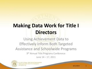 Making Data Work for Title I Directors