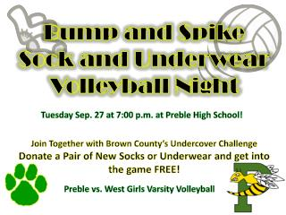 Tuesday Sep. 27 at 7:00 p.m. at Preble High School!