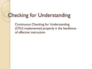 Checking for Understanding
