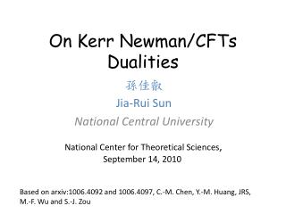 On Kerr Newman/CFTs Dualities