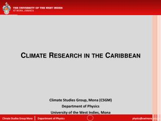 Climate Research in the Caribbean