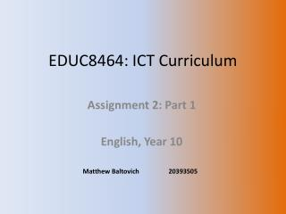 EDUC8464: ICT Curriculum